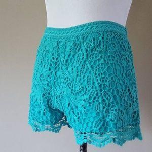 Turquoise Lacy Shorts Large Mossimo